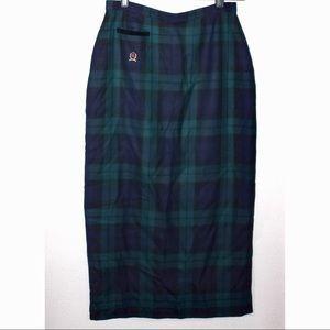 Tommy Hilfiger Wool Plaid Midi Pencil Skirt